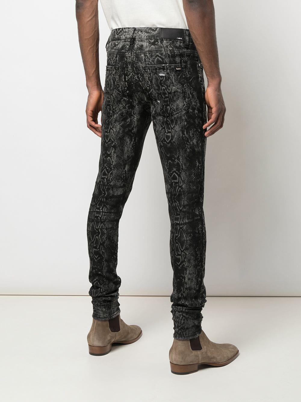 Amiri Denim Skinny Jeans Met Python Print in het Grijs voor heren