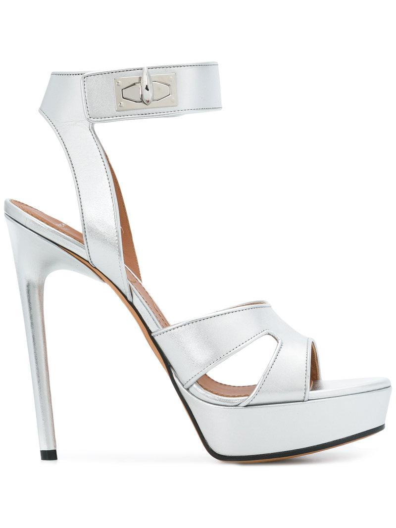 e83fa9bf45b7 Lyst - Givenchy Shark Lock Sandals in Metallic
