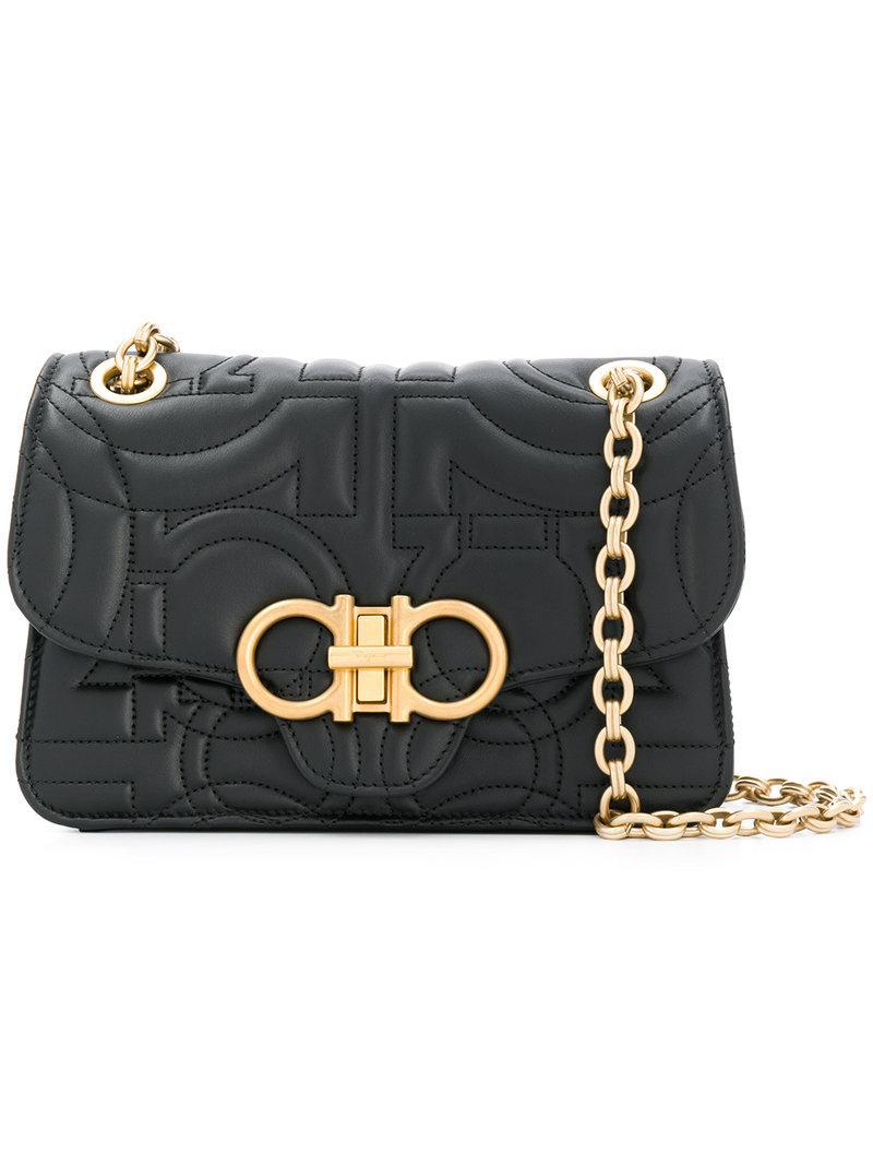 758c34c672ec Lyst - Ferragamo Gancio Quilted Leather Bag in Black