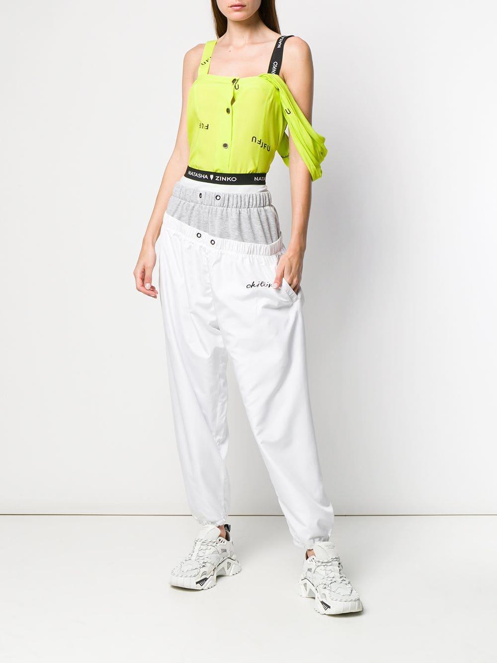 3ba1110e Lyst - Natasha Zinko Layered Track Trousers in Gray