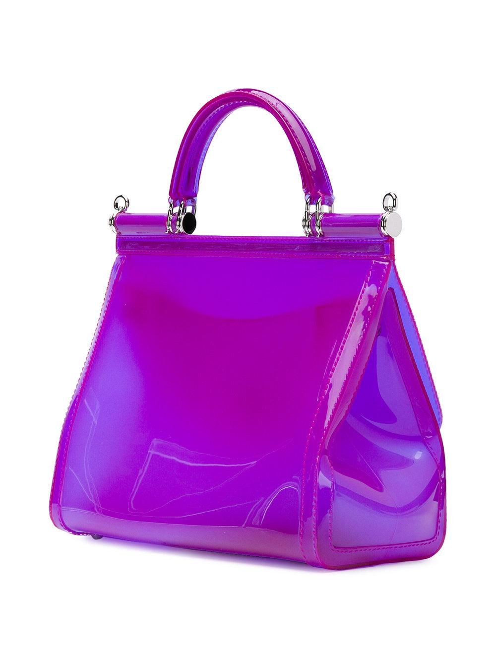 Dolce & Gabbana Lace Sicily Tote Bag in Pink & Purple (Purple)