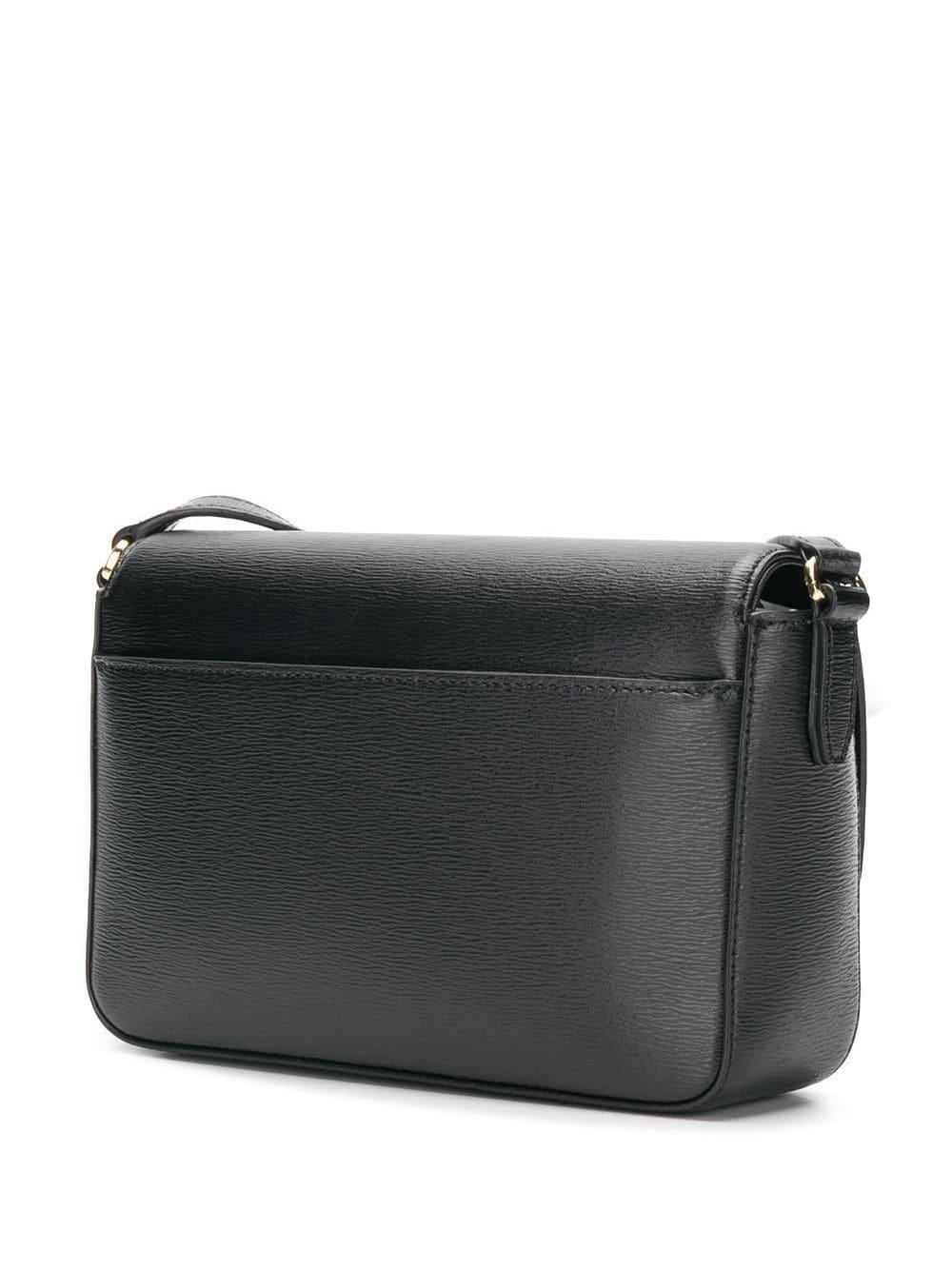 DKNY Leather Bryant Flap Cross Body Bag in Black