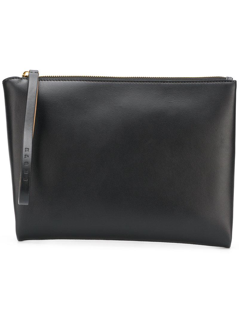 Brown and black leather clutch with handle Marni qjIo0