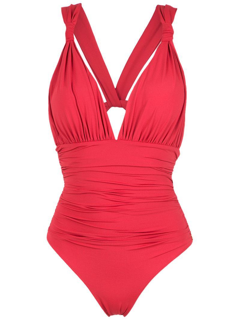 Lyst - Maillot de bain à col v Brigitte Bardot en coloris Rouge 407160f8cada
