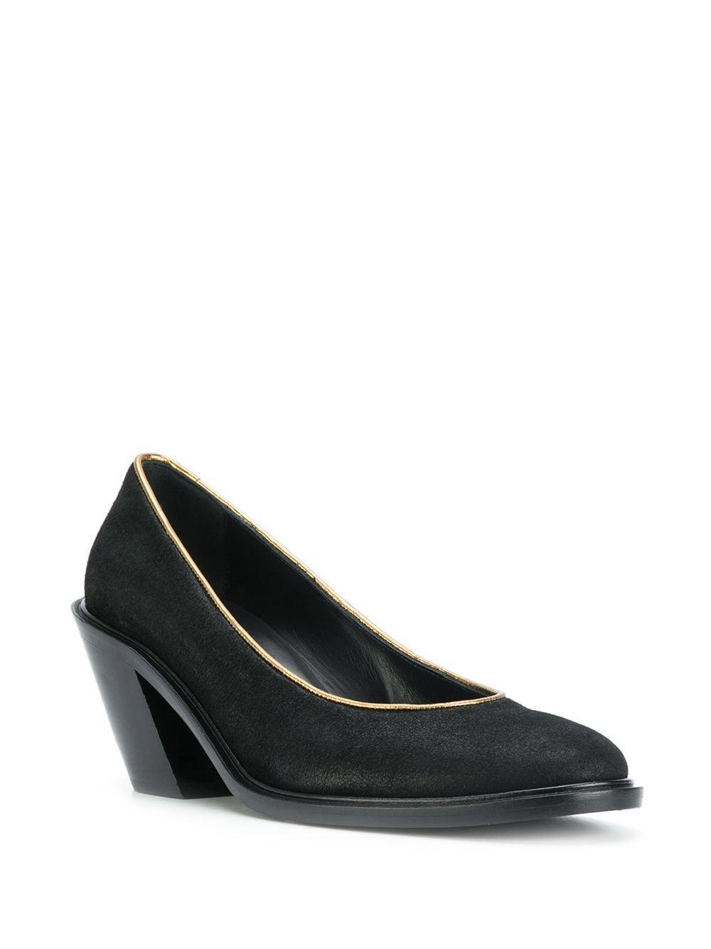 Zapatos de tacón con ribete dorado A.F.Vandevorst de Ante de color Negro