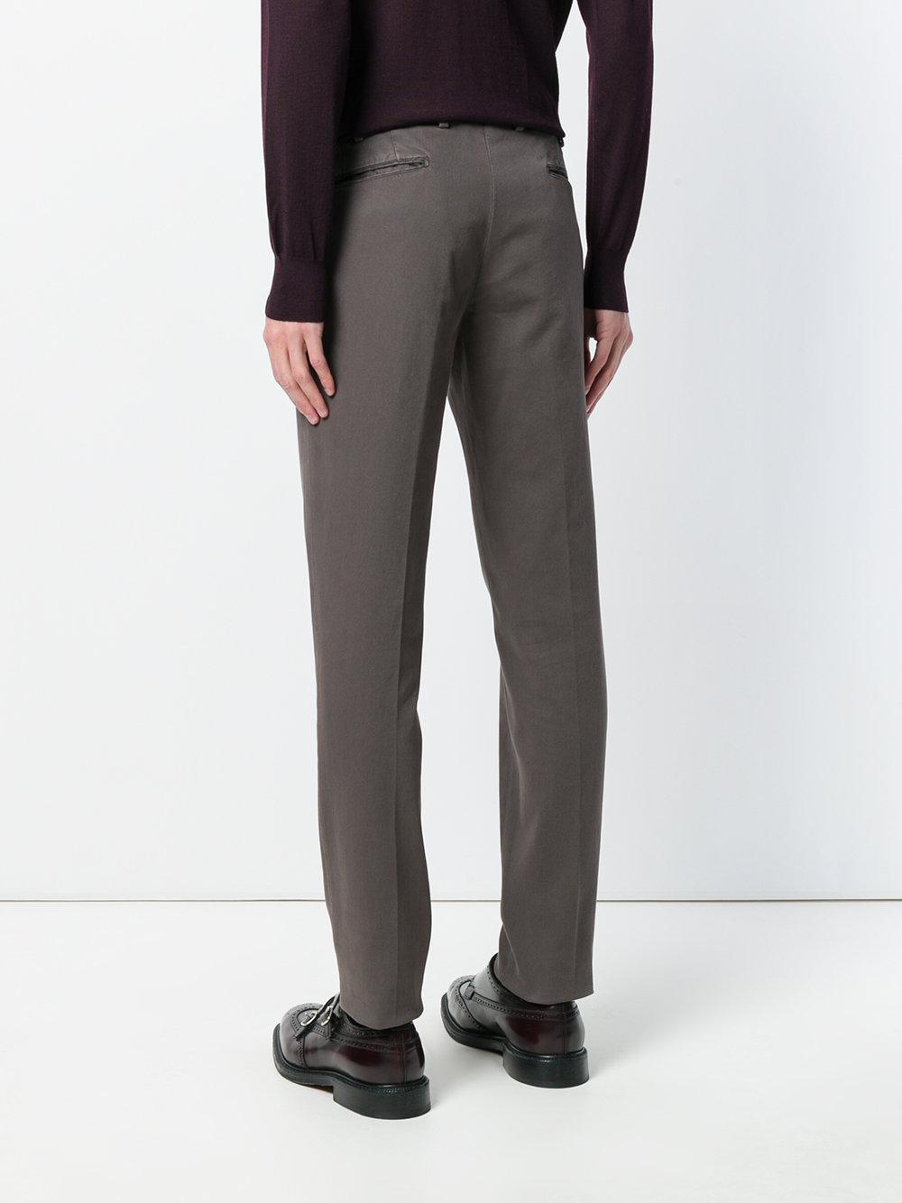 Dell'Oglio Cotton Chino Trousers in Brown for Men
