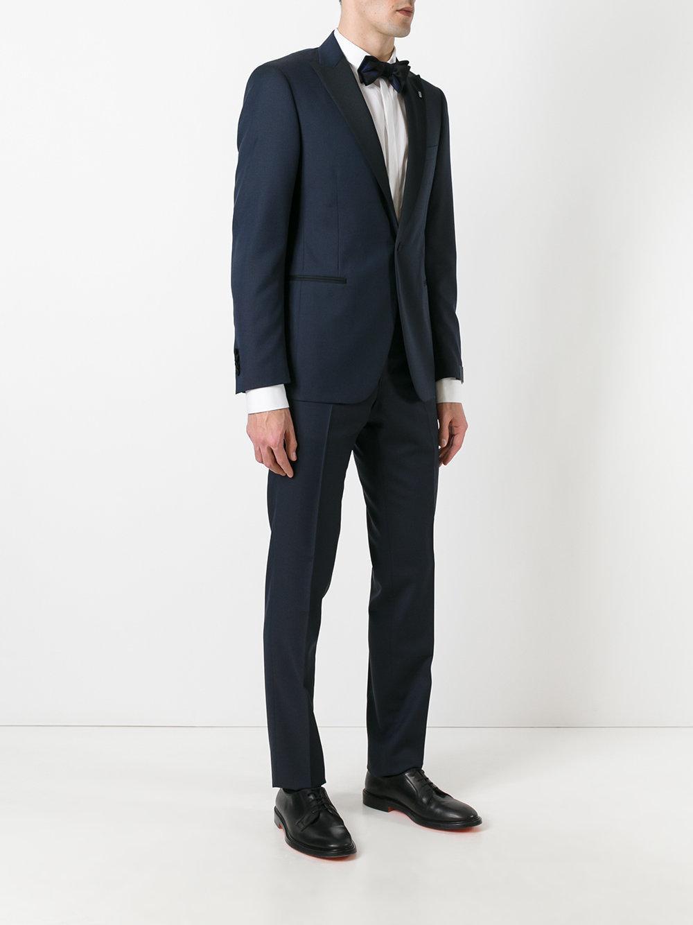 Lardini Silk Slim Tailored Tuxedo in Blue for Men