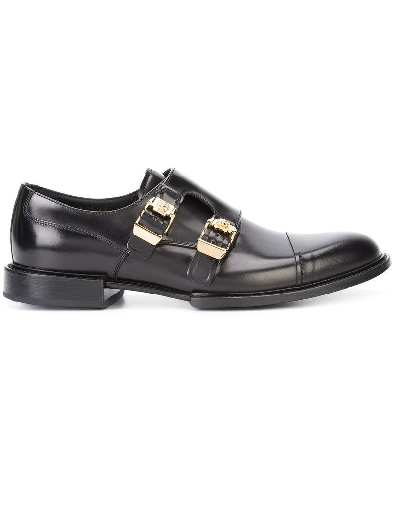Versace Double Buckle Norman Derby Shoes In Black For Men