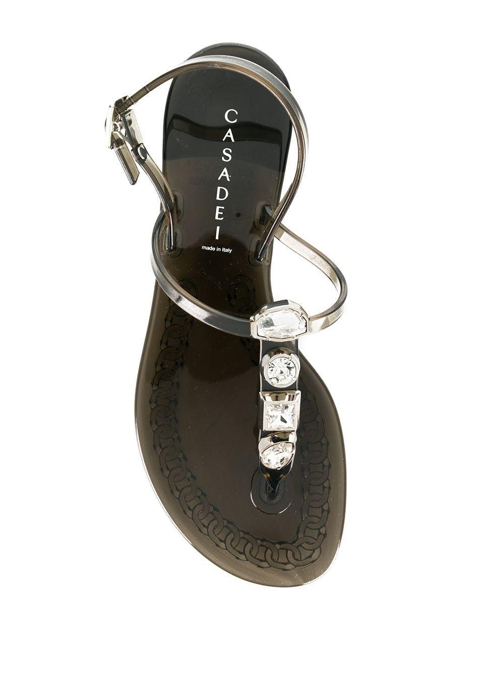 Sandales à ornements strassés Caoutchouc Casadei en coloris Noir