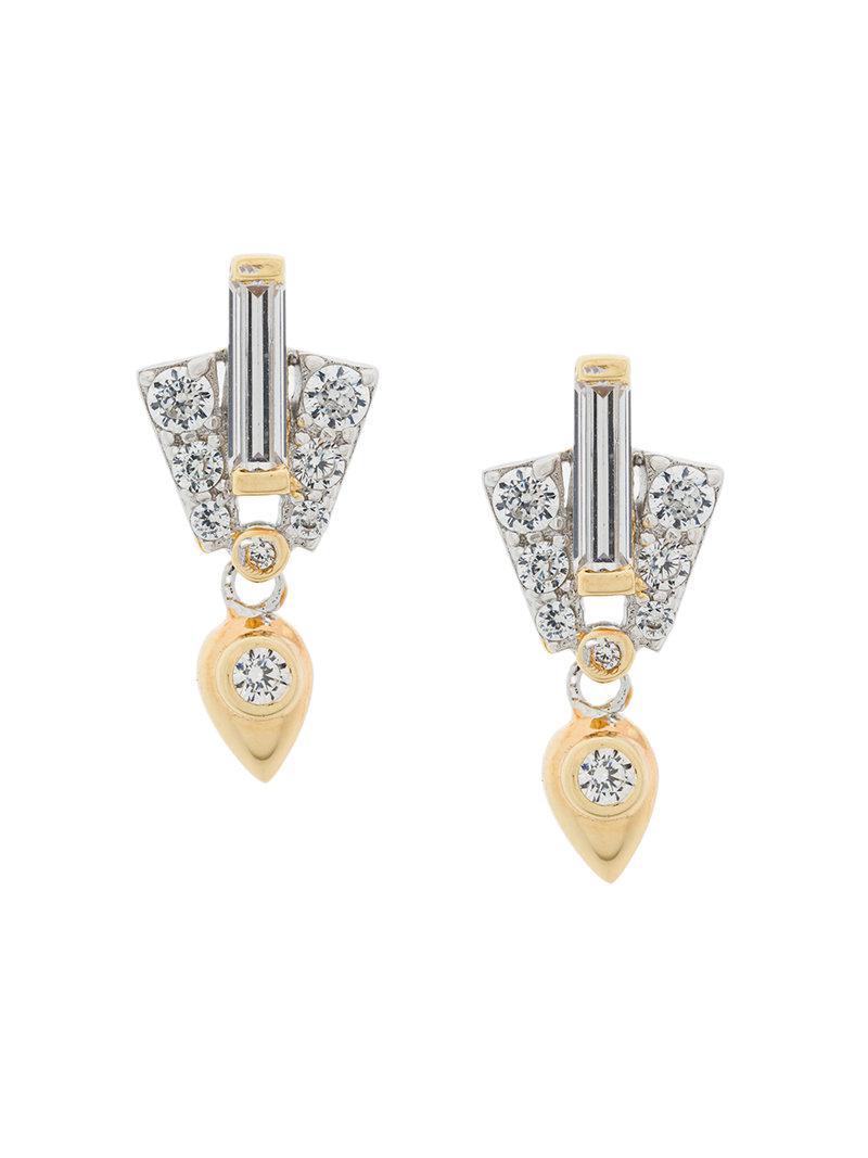 V JEWELLERY Odette earrings - Metallic XLN8c