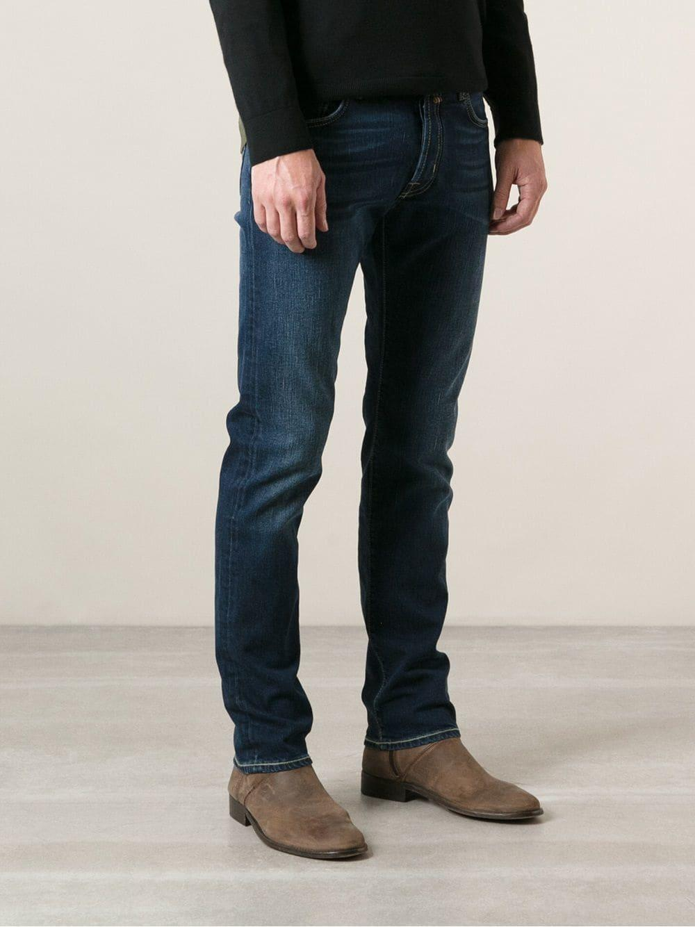 Jacob Cohen Stone Washed Regular Fit Jeans in Blue for Men