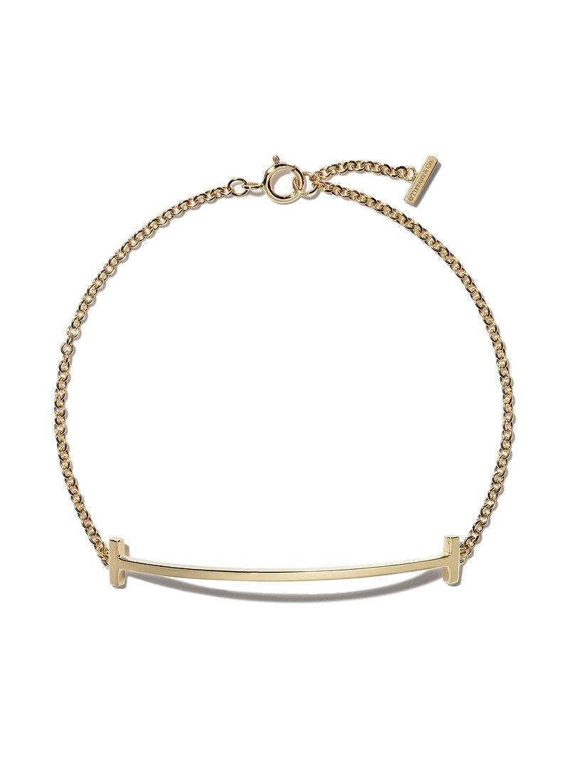 ba7ba6165 Tiffany & Co. 18kt Yellow Gold Tiffany T Smile Bracelet in Metallic ...
