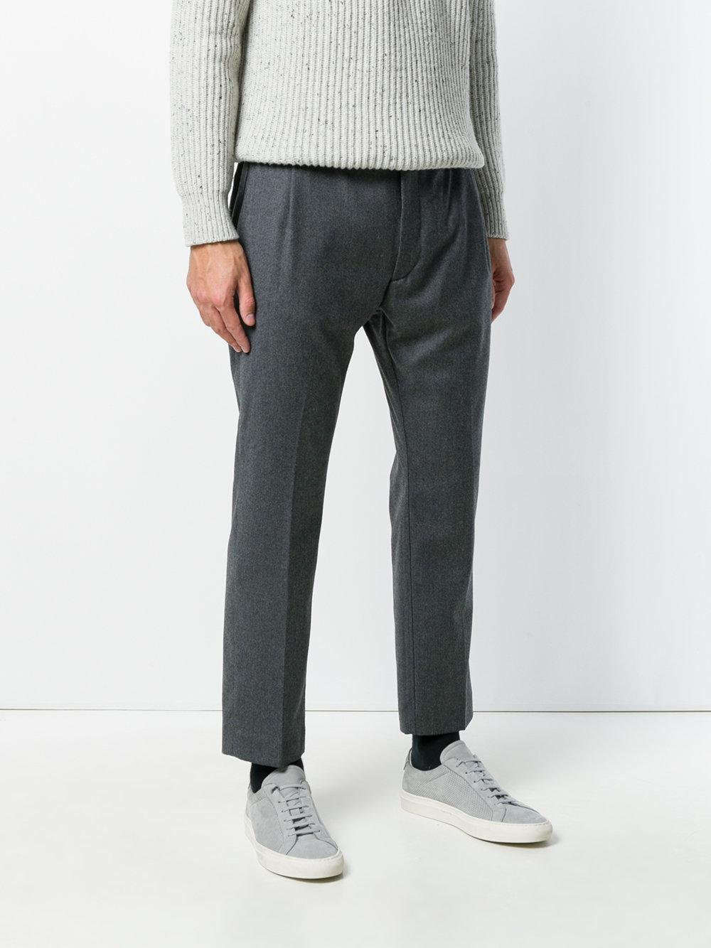 Pence Wool Pleated Trousers in Grey (Grey) for Men