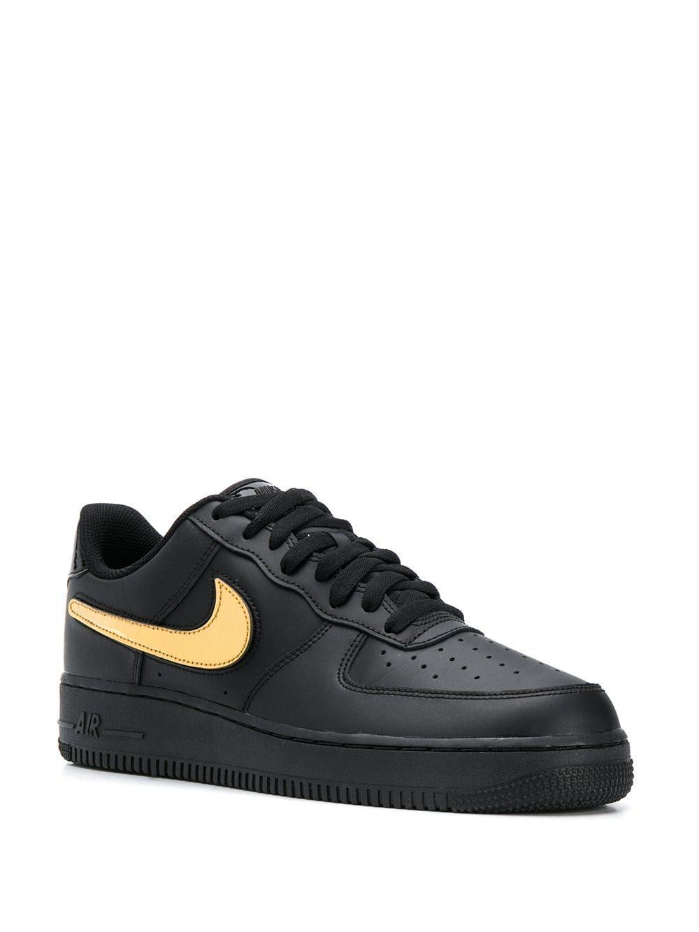 Nike Leer Sneakers Met Logo in het Zwart voor heren