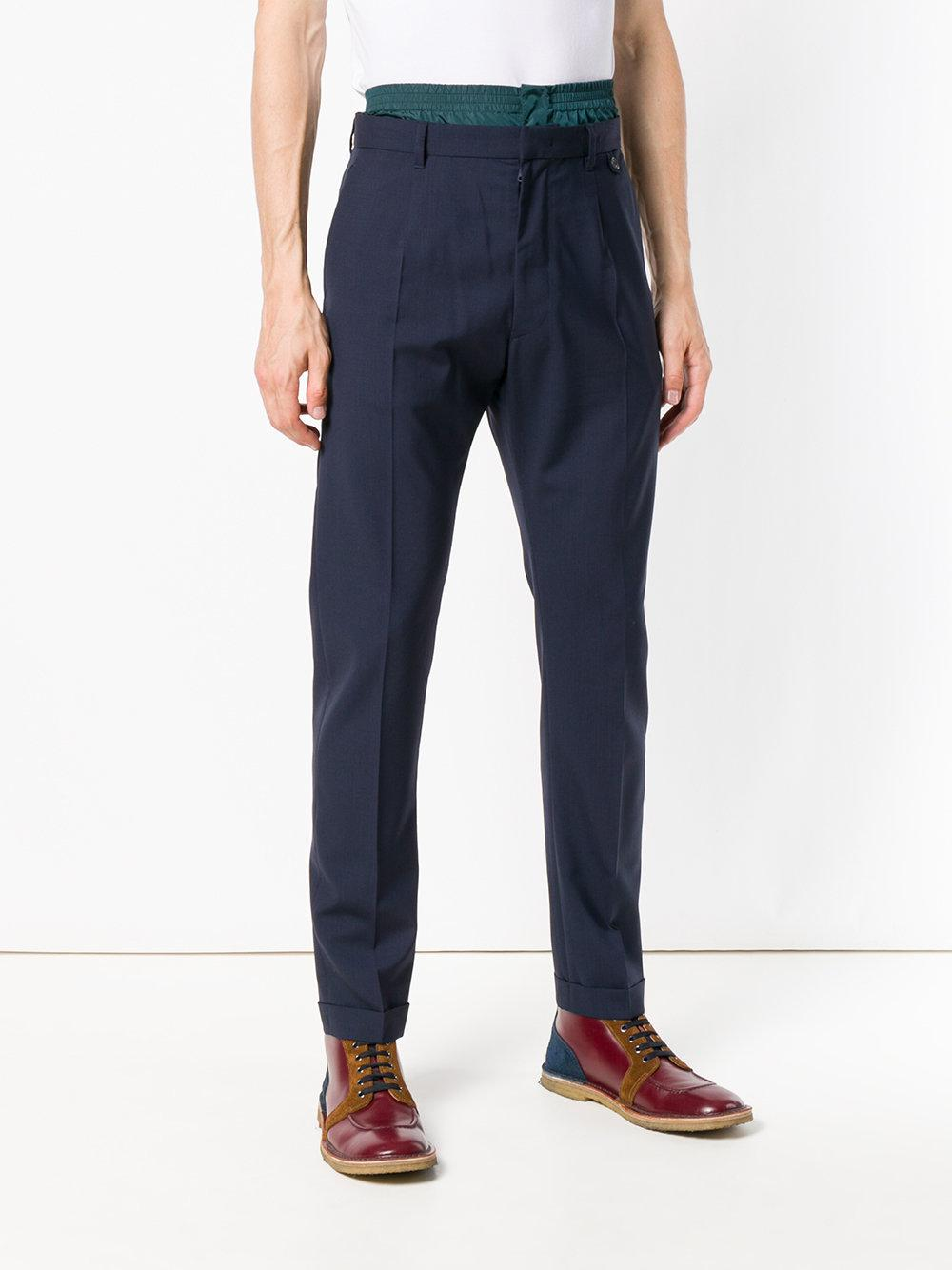 Prada Cotton Techno Waist Detail Trousers in Blue for Men