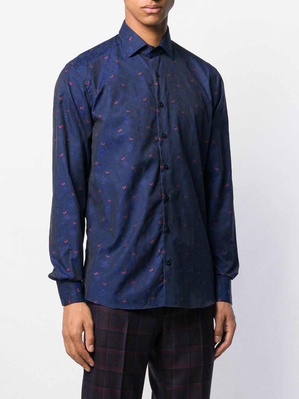 Etro Overhemd Met Jacquard in het Blauw voor heren