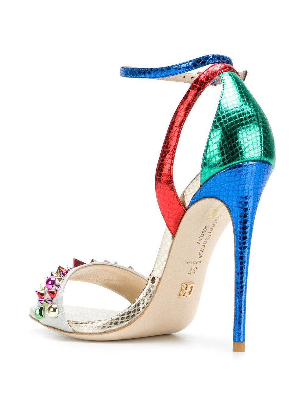 Gianni Renzi Leather Studded High Heel Sandals Lyst