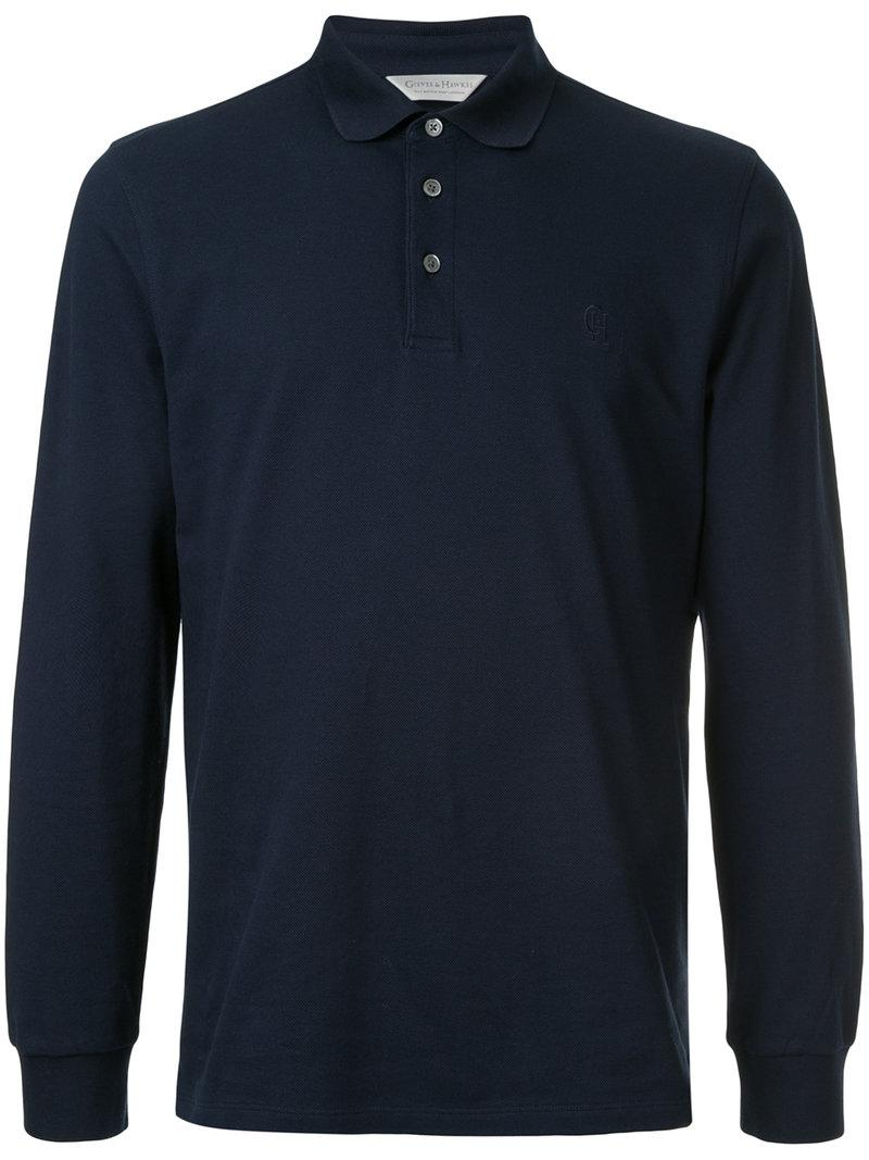 Lyst gieves hawkes embroidered logo polo shirt in blue for Embroidered logos on shirts