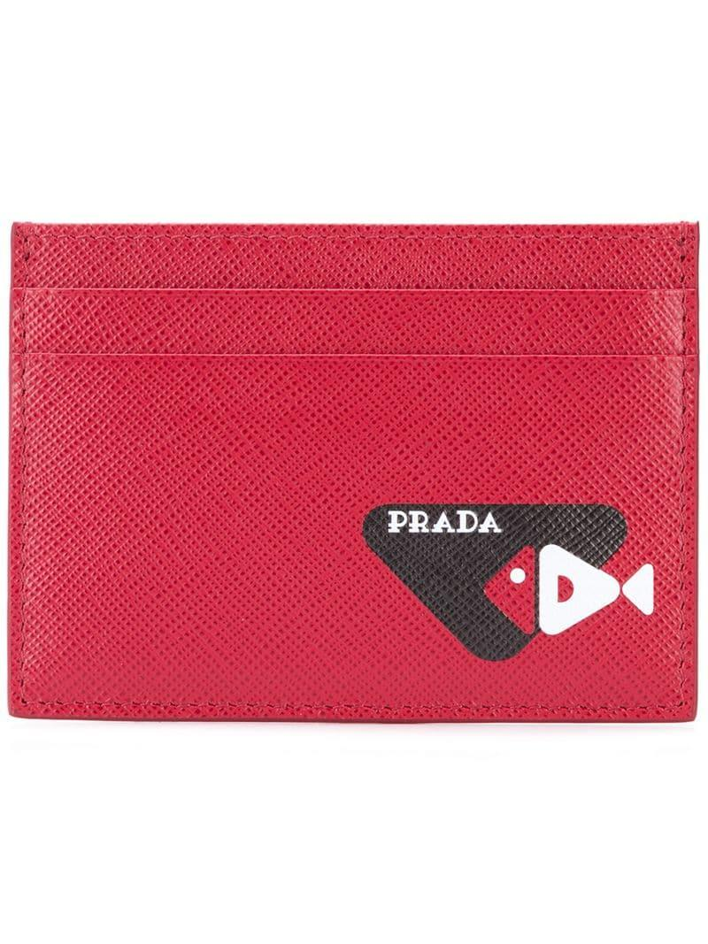 603d0005ae82 Prada - Red Slim Card-holder for Men - Lyst. View fullscreen