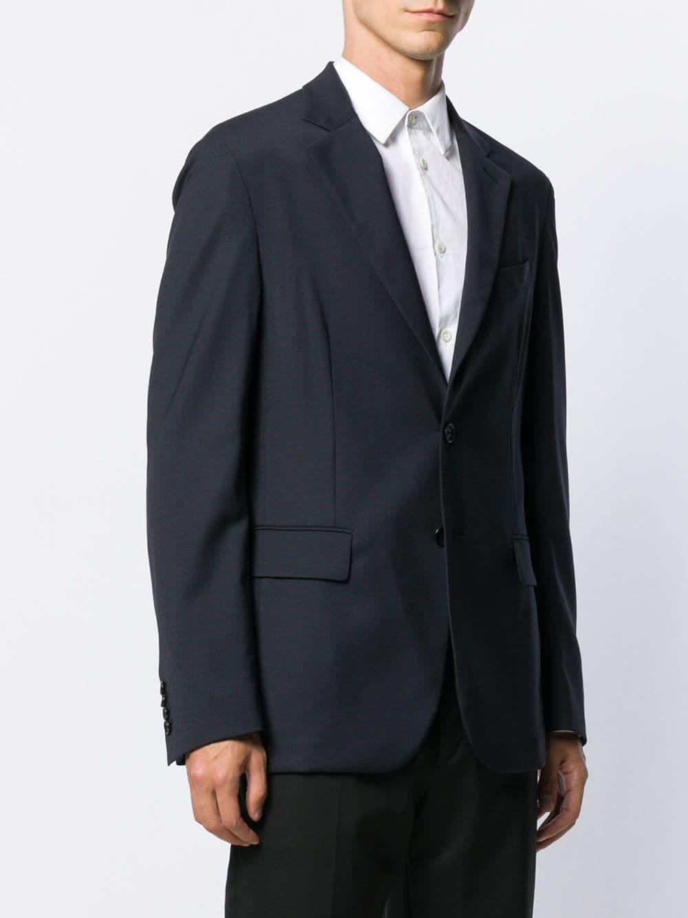 Versace Katoen Blazer Met Enkele Rij Knopen in het Blauw voor heren
