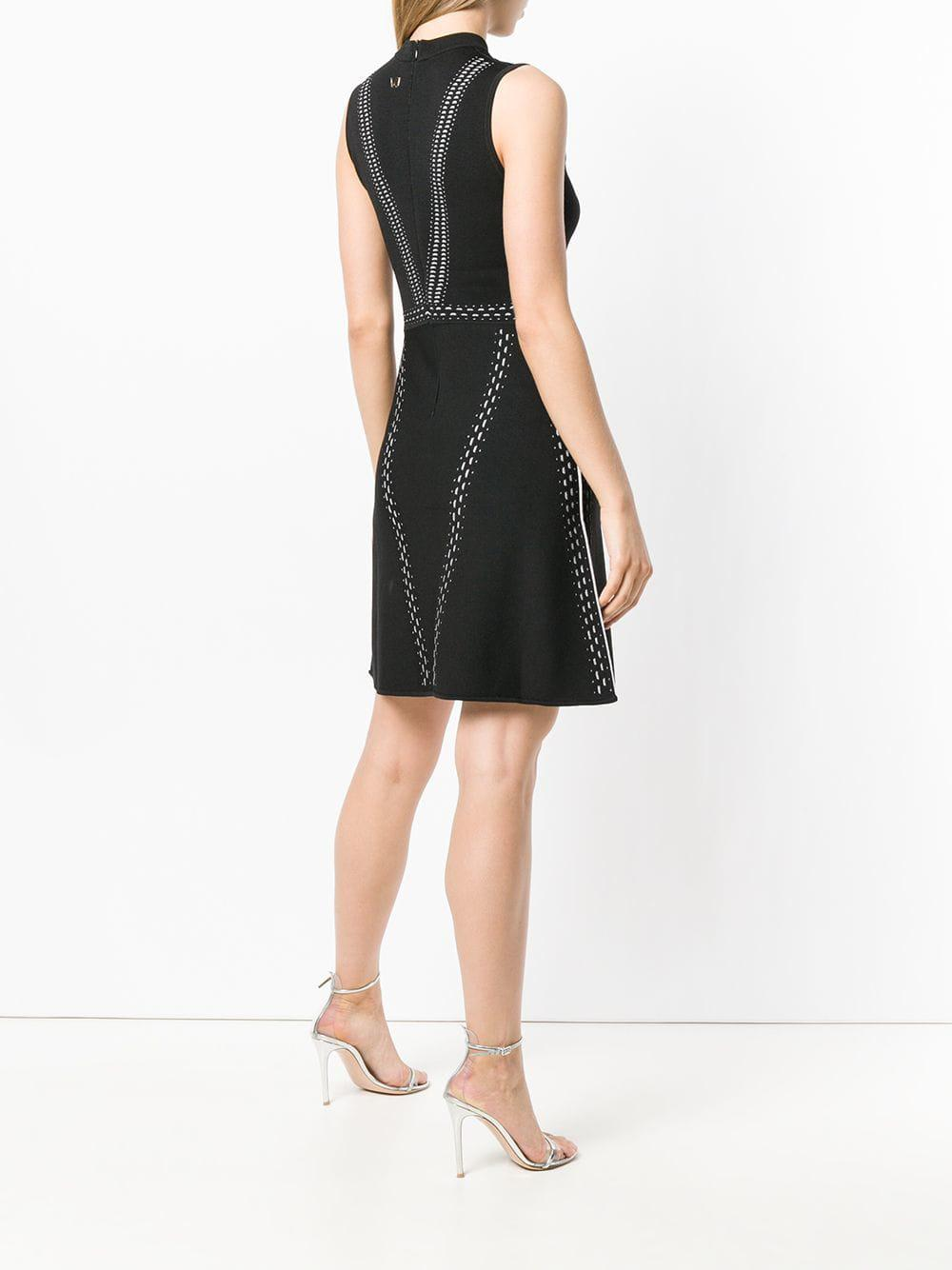 Versace Jeans Couture Denim Stitch-detail Sleeveless Dress in Black