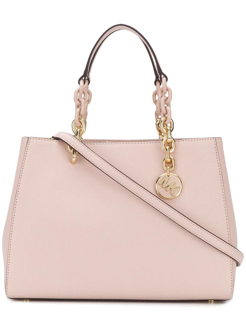 90c72e5e8a90 Lyst - MICHAEL Michael Kors Cynthia Saffiano Satchel in Pink