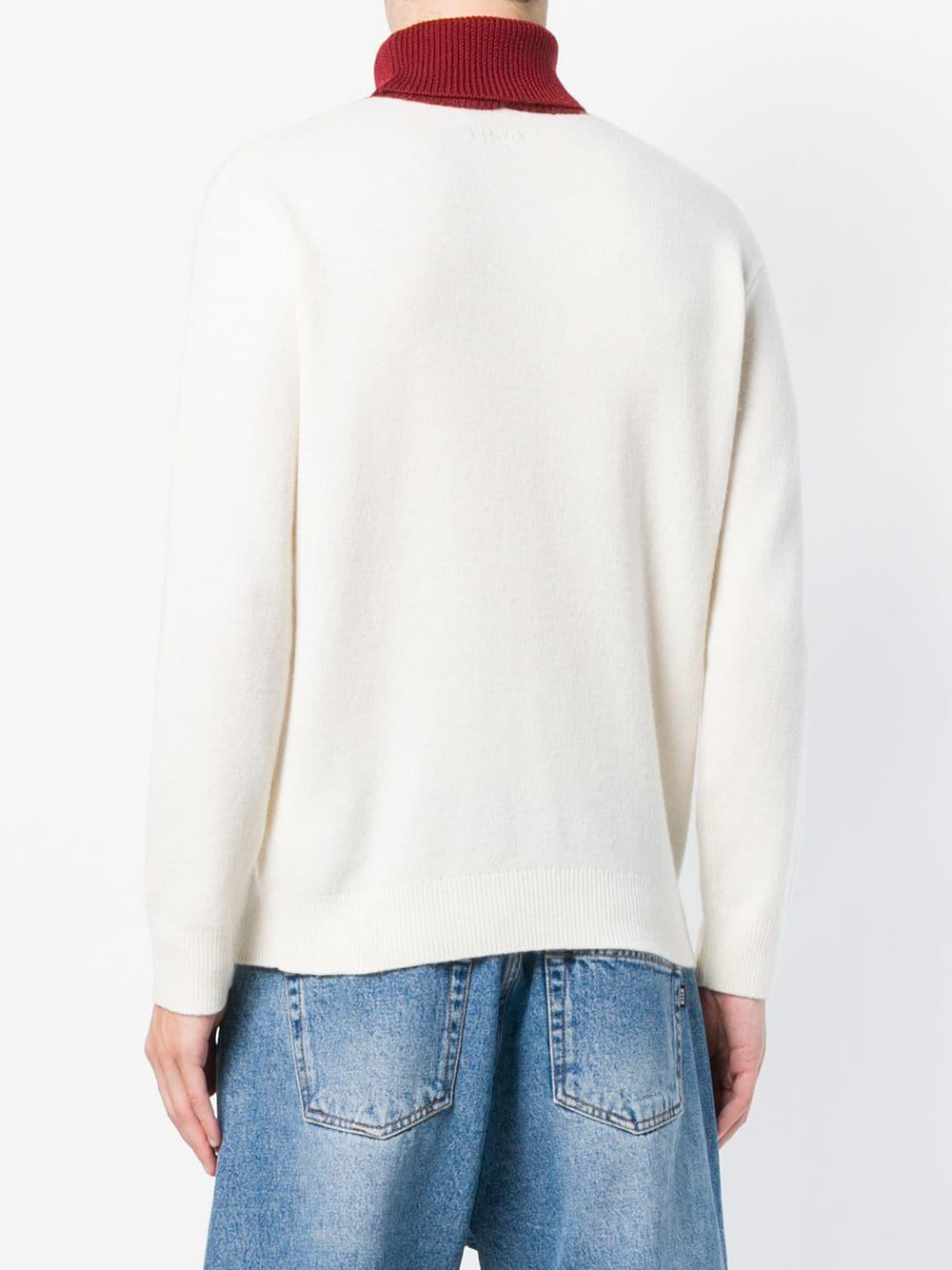 KENZO Wool High Neck Knit Sweater in White for Men