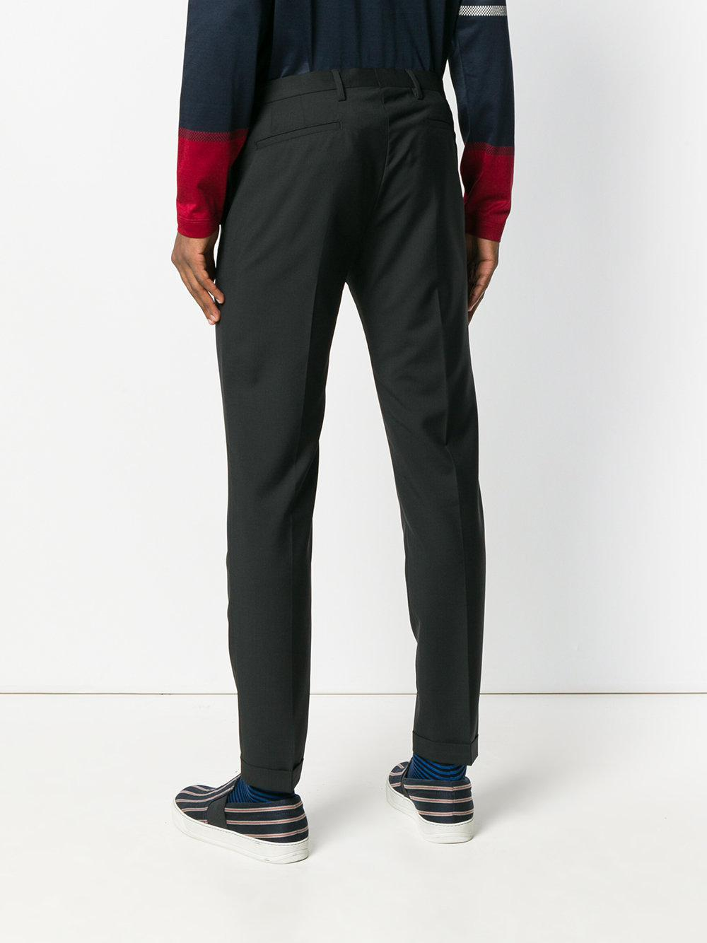Paul Smith Black Label Wool Tapered Trousers in Black for Men