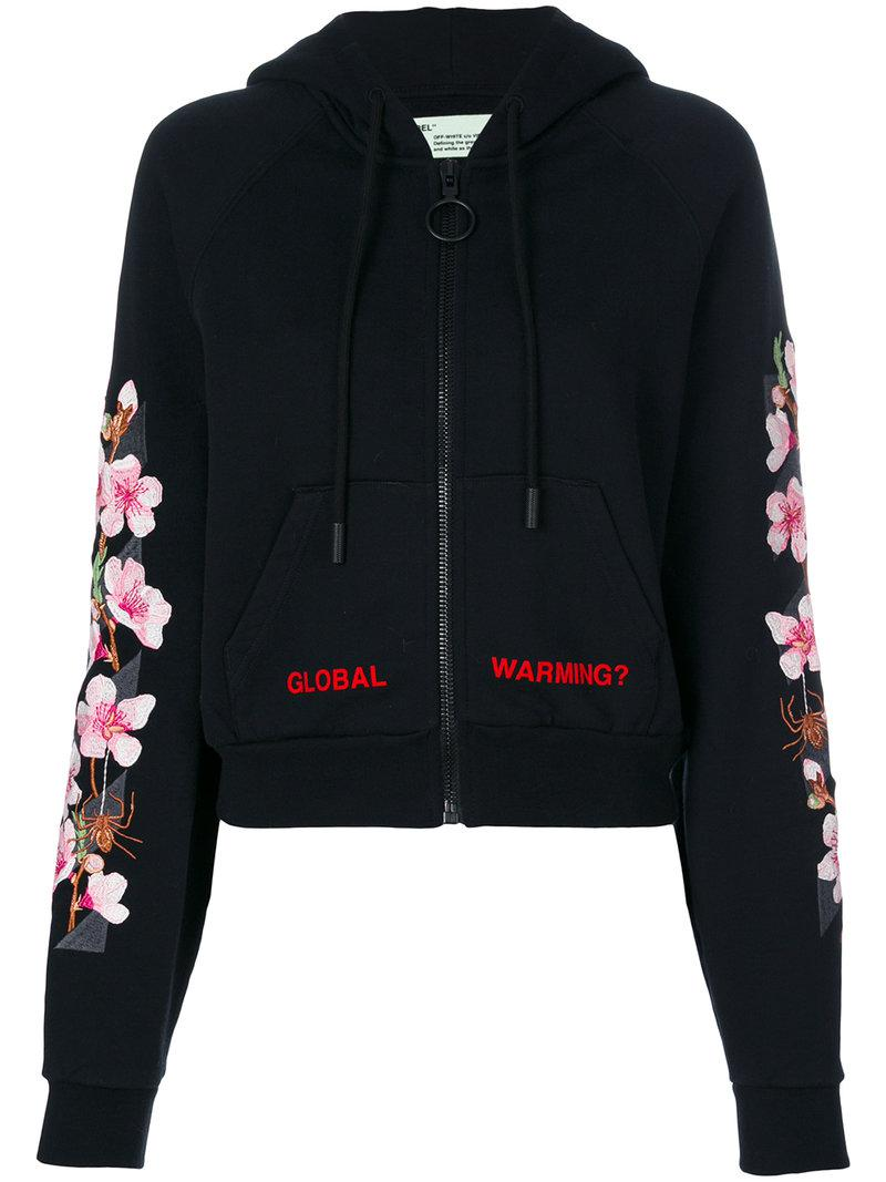 e7ee78ce26b4 Off-White c o Virgil Abloh Global Warming Blossom Hoodie in Black - Lyst