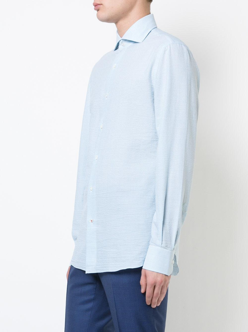 Isaia Cotton Striped Shirt in Blue for Men