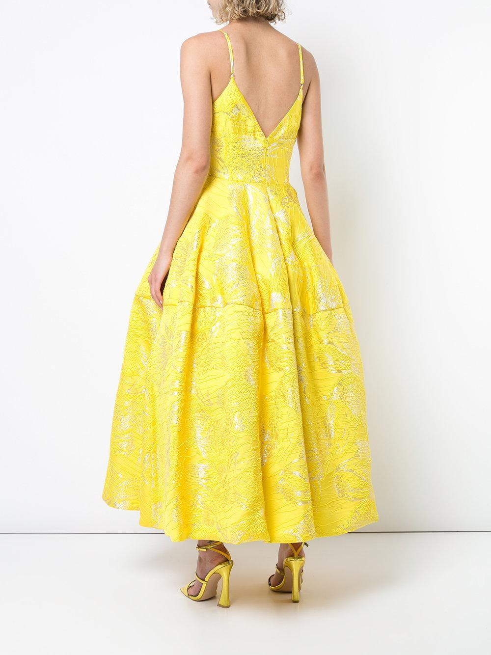 Siriano Yellow Flared Midi Dress Lyst View Fullscreen