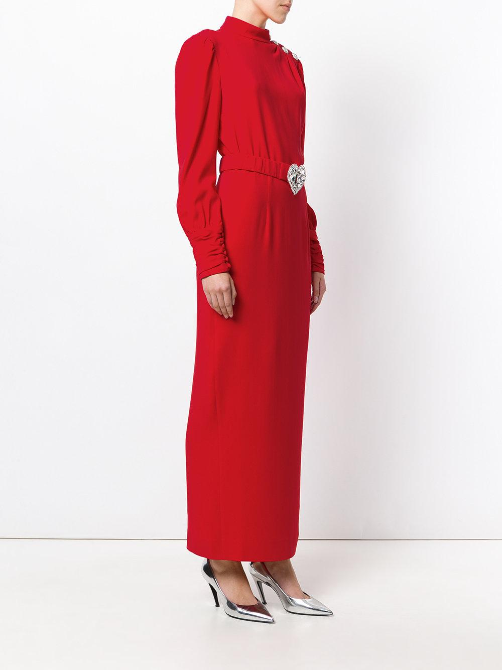 Alessandra Rich Synthetic Long Sleeved Belted Dress in Red
