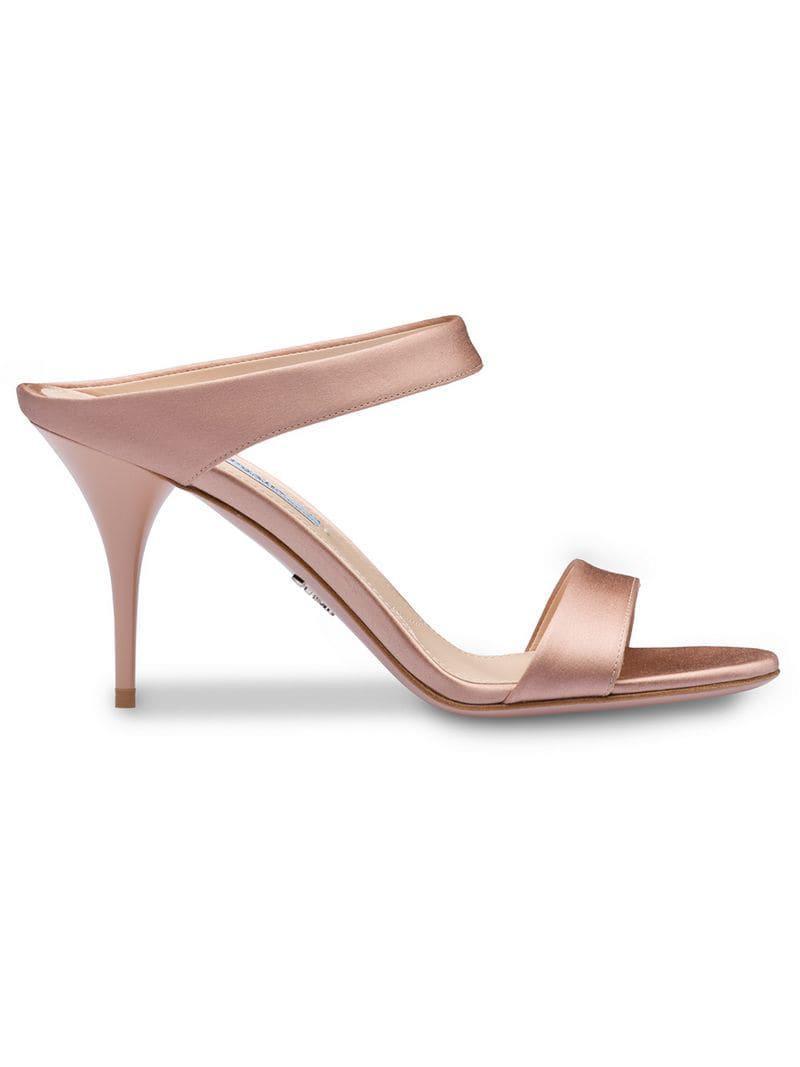 298079a50a36 Lyst - Prada Open Toe Mules in Pink