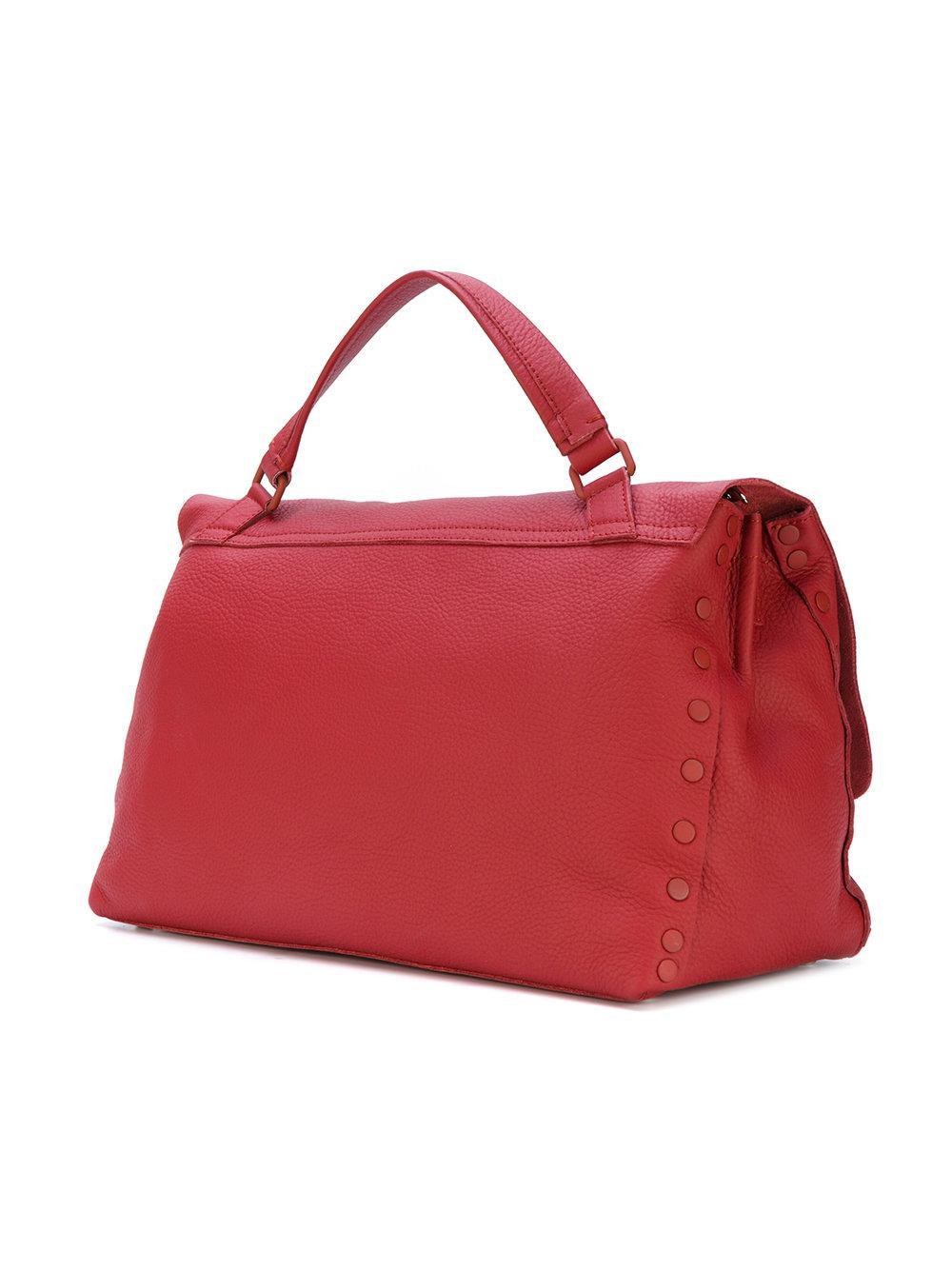 Zanellato Leather Double Latch Tote Bag in Red