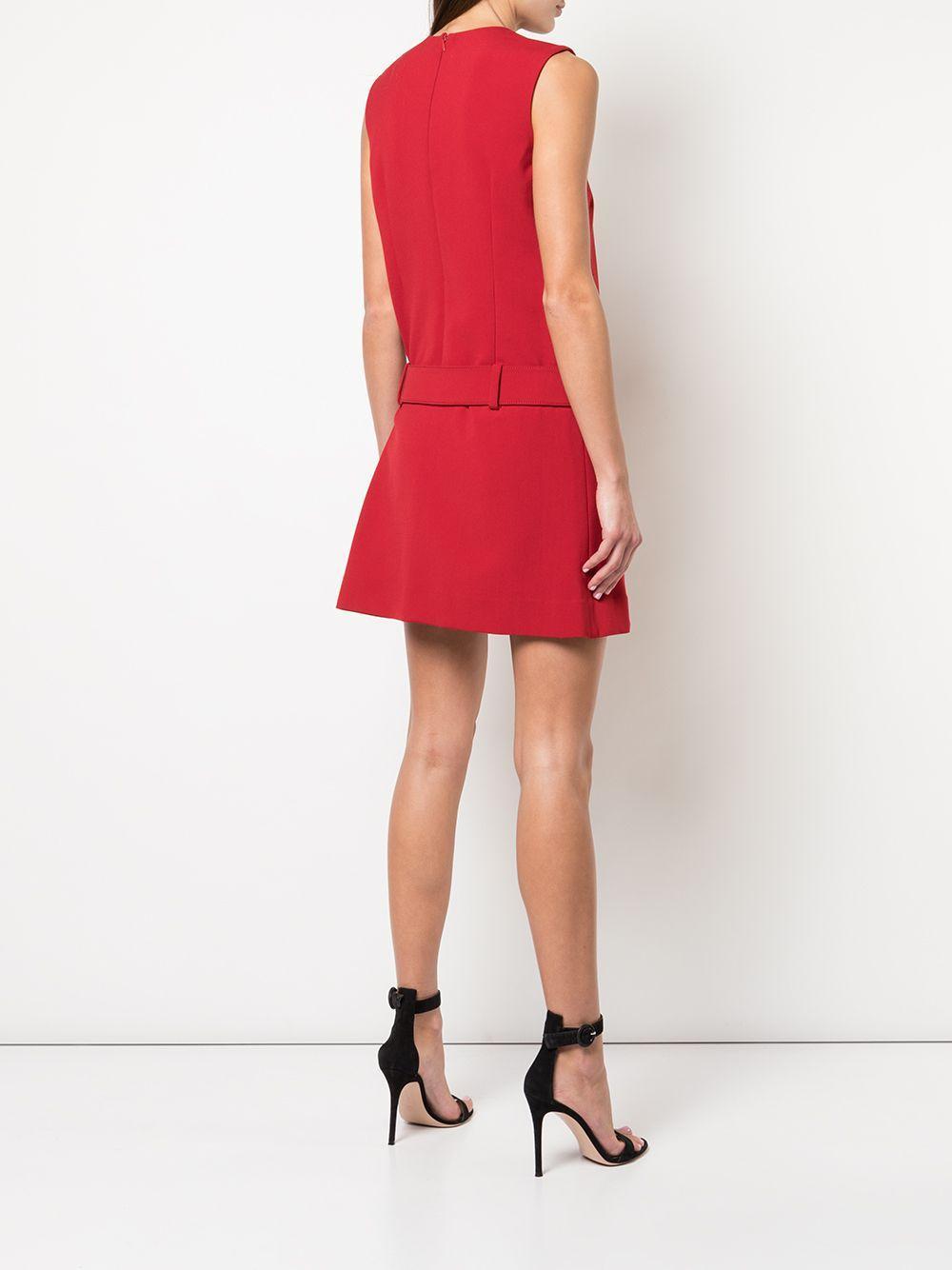 Vestido con cinturón Nicole Miller de Algodón de color Rojo