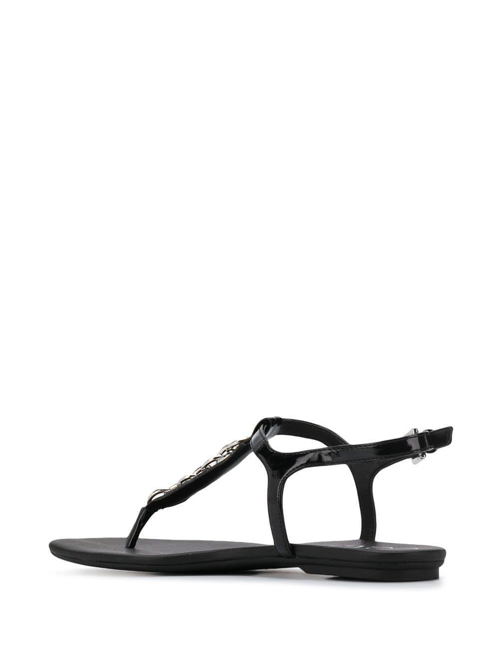 Sandales à détail de chaine Cuir Calvin Klein en coloris Noir