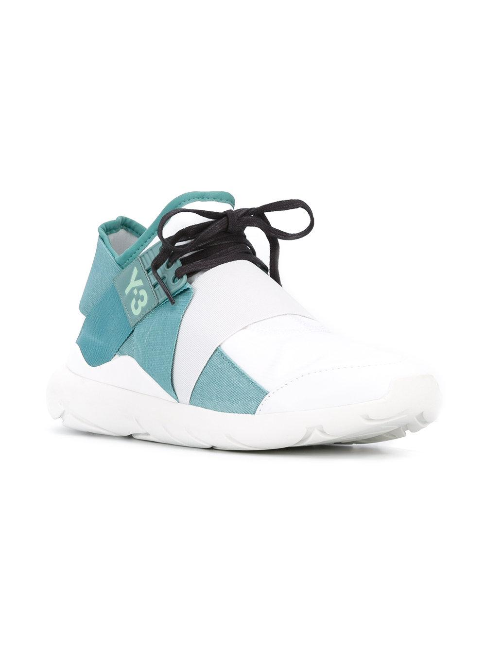 Y-3 Leather 'vapour Steel' Trainers in Blue
