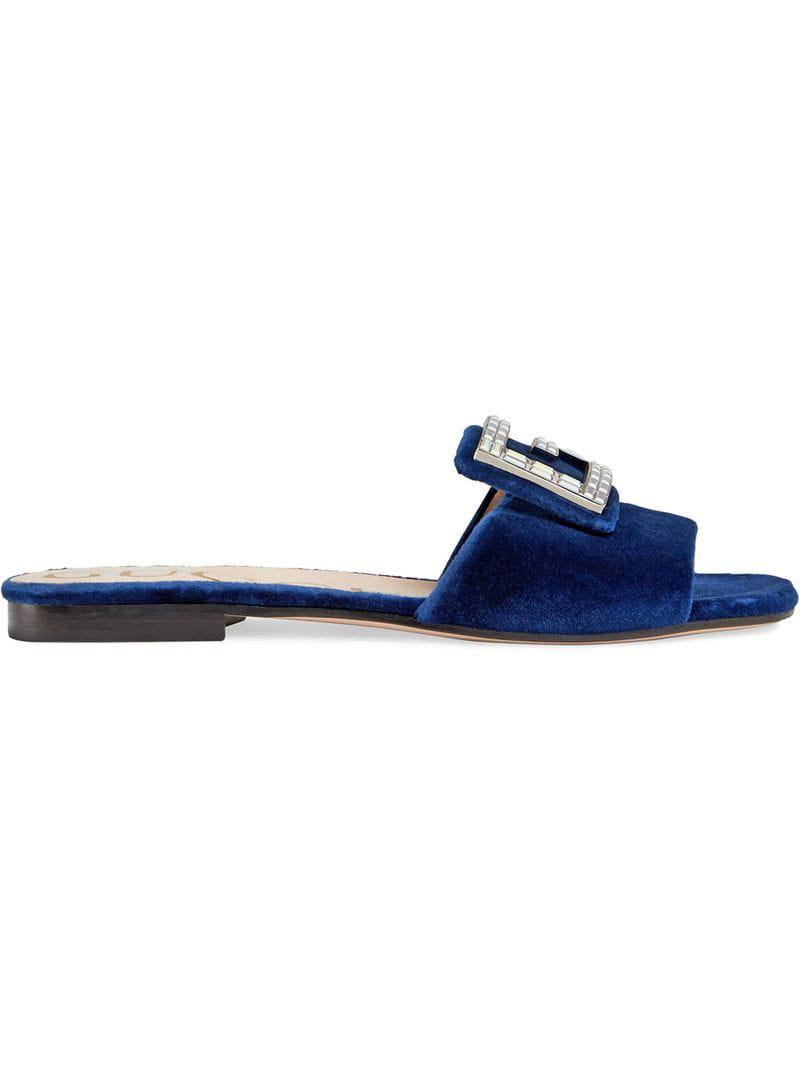 7b07725553c Lyst - Gucci Velvet Slides With Crystal G in Blue - Save 24%