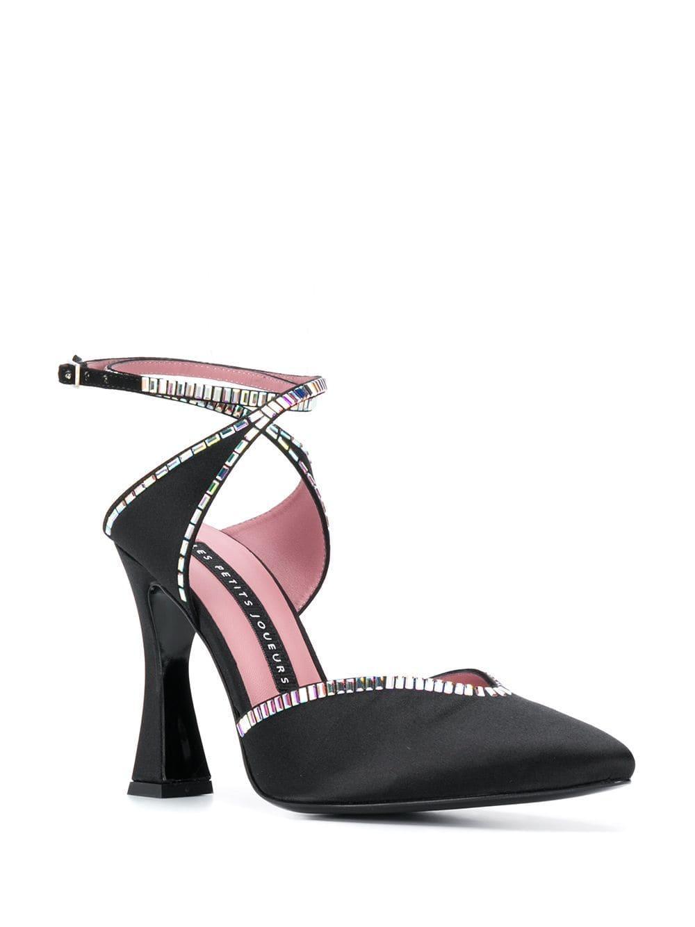 Zapatos de tacón con apliques Les Petits Joueurs de Raso de color Negro
