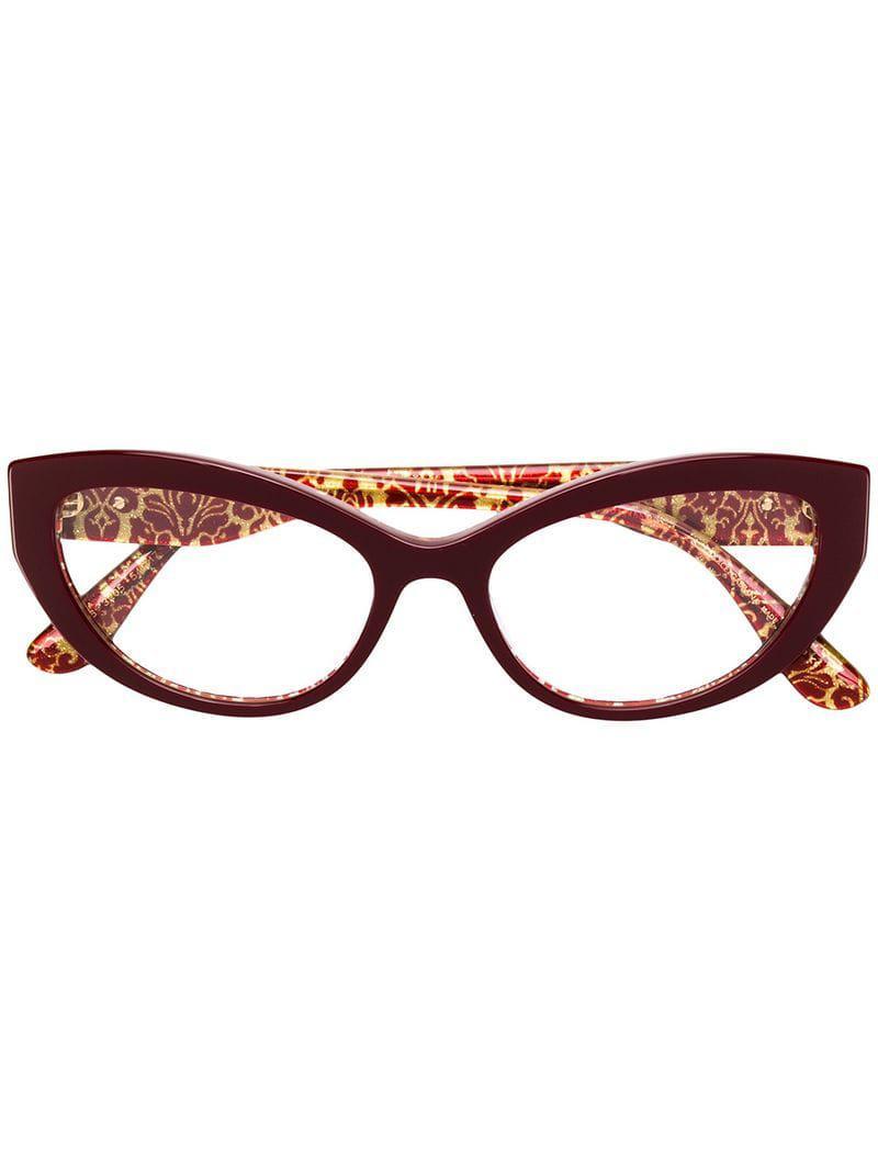 2df42a87741 Dolce   Gabbana Cat-eye Glasses in Red - Lyst