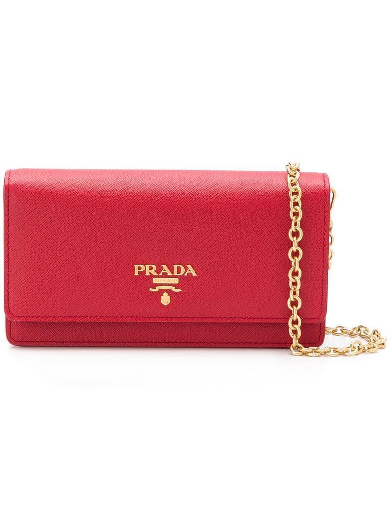 c152aaf824b6 Prada - Red Logo Plaque Wallet - Lyst. View fullscreen