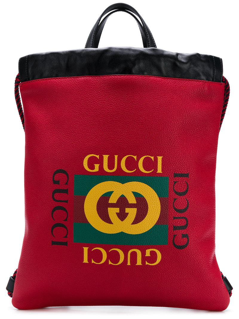 332464d3f659 Gucci - Red Printed Backpack for Men - Lyst. View fullscreen