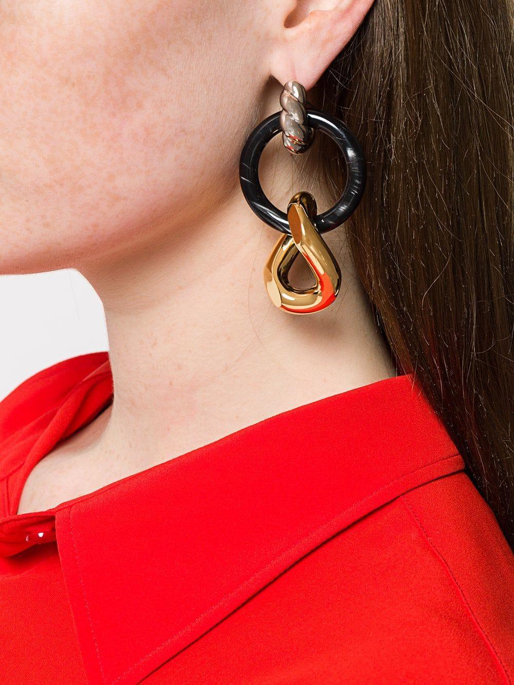 96feb88a6 Balenciaga Loop And Hoop Earrings in Metallic - Lyst