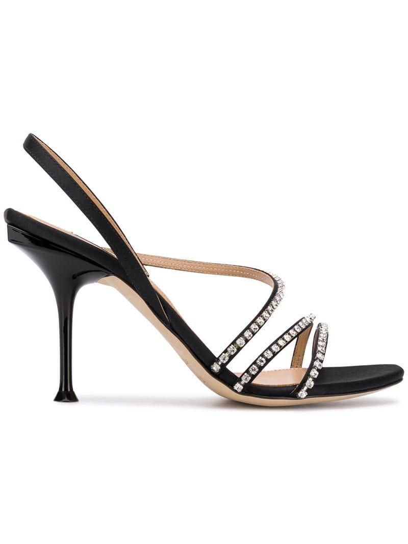 ae3d75efb36bc Lyst - Sergio Rossi Embellished Strap Sandals in Black