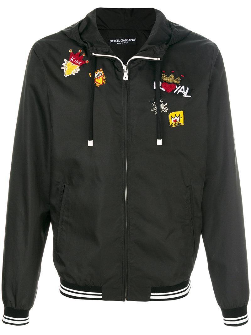 lyst dolce gabbana royal patch hooded jacket in black for men. Black Bedroom Furniture Sets. Home Design Ideas