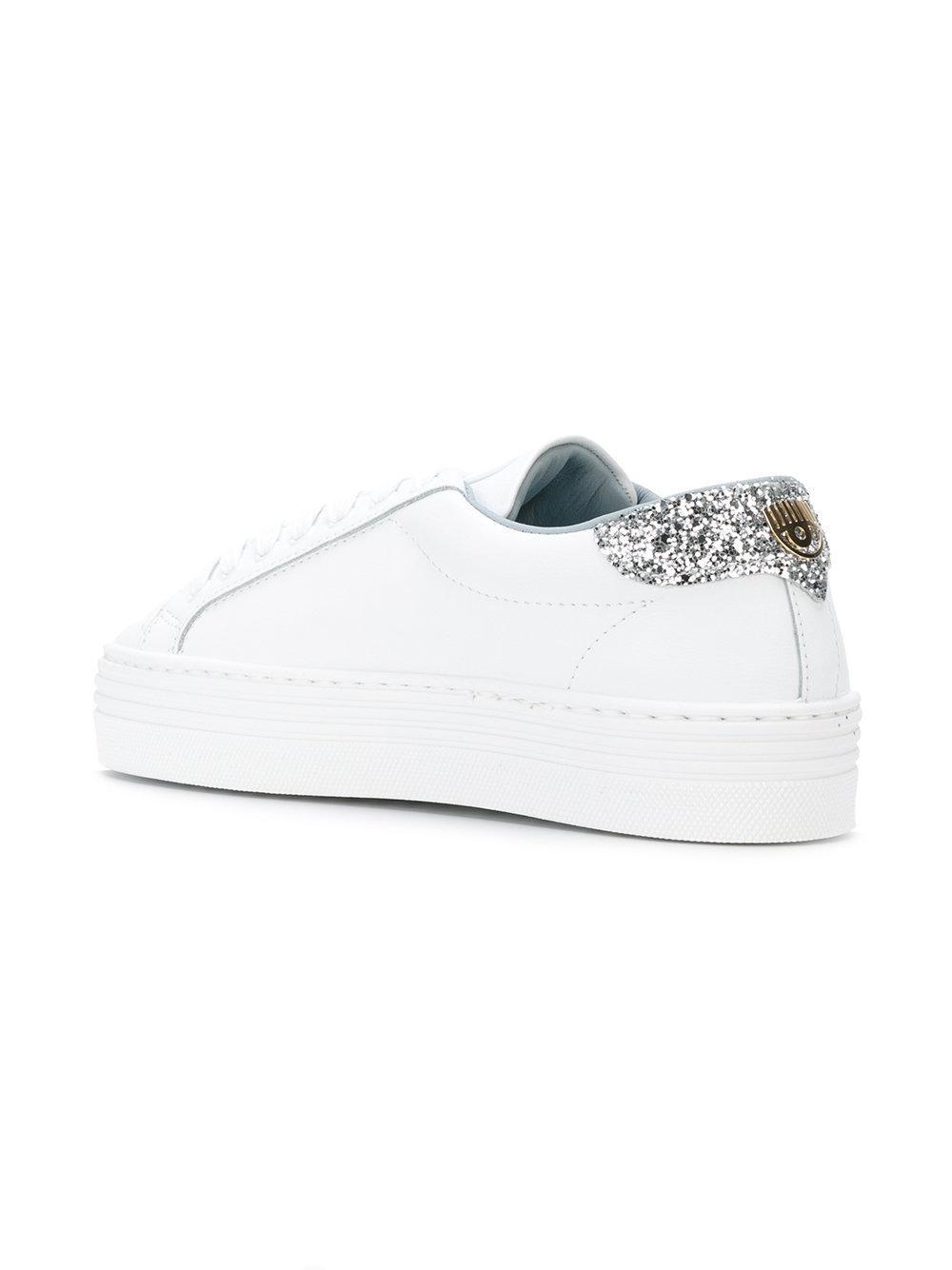 Chiara Ferragni Leather Logomania Sneakers in White