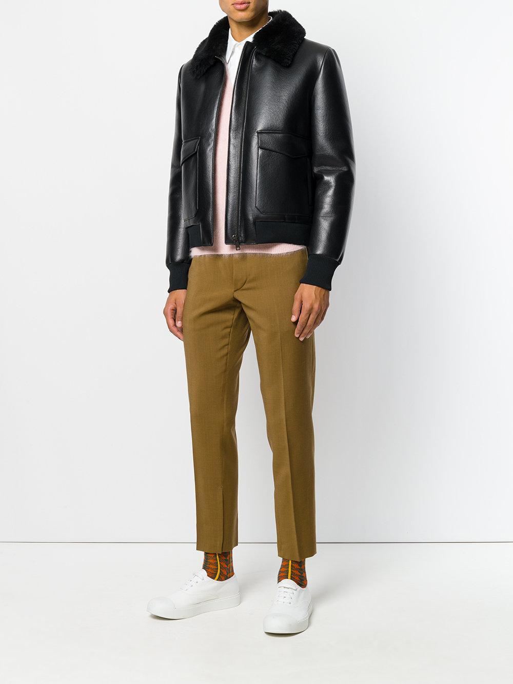 Prada Leather Shearling Collar Bomber Jacket in Black for Men