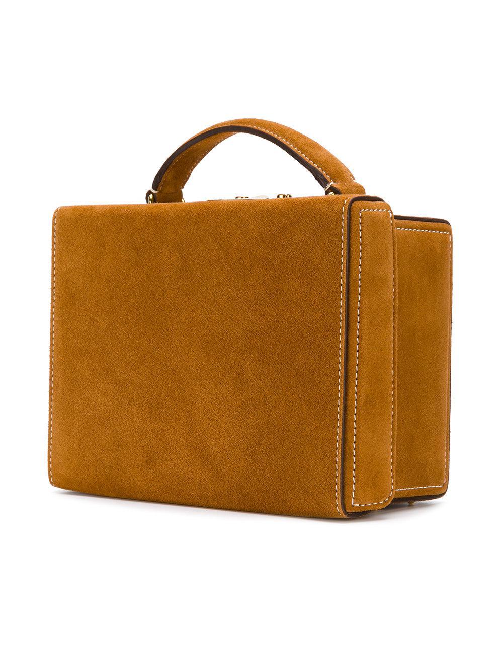 Mark Cross Suede Structured Box Handbag in Brown