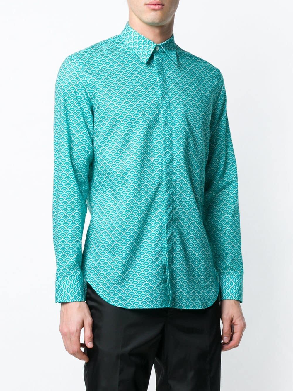 Maison Margiela Katoen Overhemd Met Golvend Patroon in het Blauw voor heren