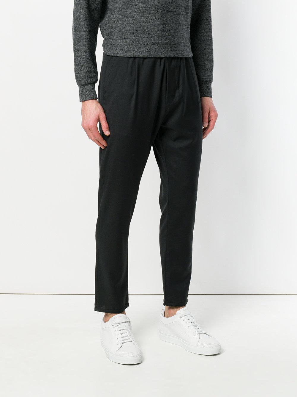 Low Brand Wool Straight Leg Trousers in Black for Men